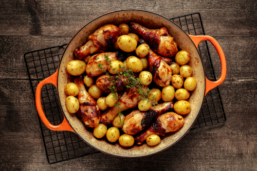 Rețetă pulpe de pui cu cartofi la cuptor